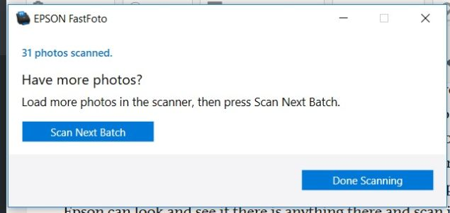 FastFoto post scan dialogue.