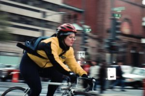 A bike courier in D.C., in the 90s.