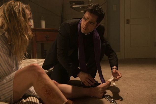 Hannah Kasulka and Alfonso Herrera in The Exorcist.