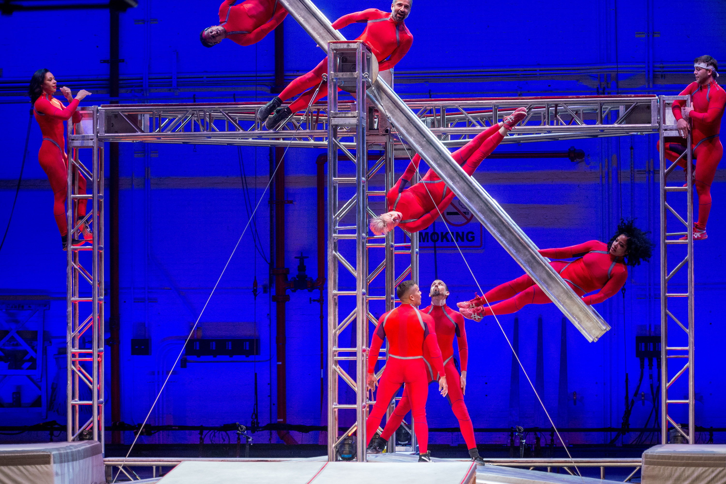 STREB Extreme Action performs AIRSLICE (World Premiere, FFD Commission), Elizabeth Streb at Fall for Dance Opening Night at City Center on September 26, 2106.