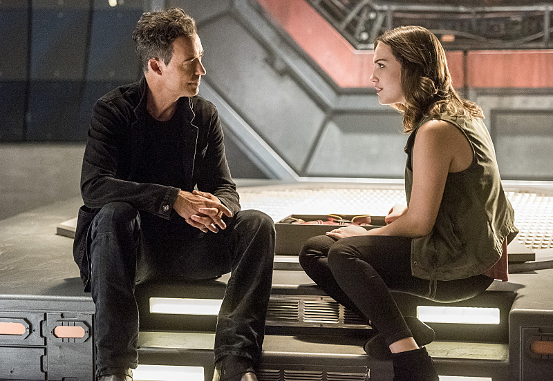 Tom Cavanagh as Harrison Wells and Violett Beane as Jesse Quick.