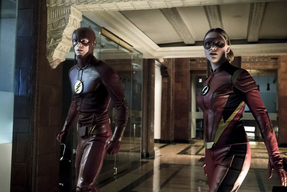 Grant Gustin as The Flash and Violett Beane as Jesse Quick.