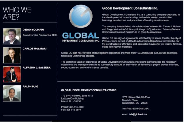 Screenshot of the Global Development Consultants website.