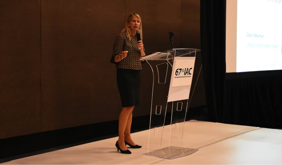 NASA Deputy Administrator Dava Newman speaks at the 3-G diversity luncheon at the IAC.
