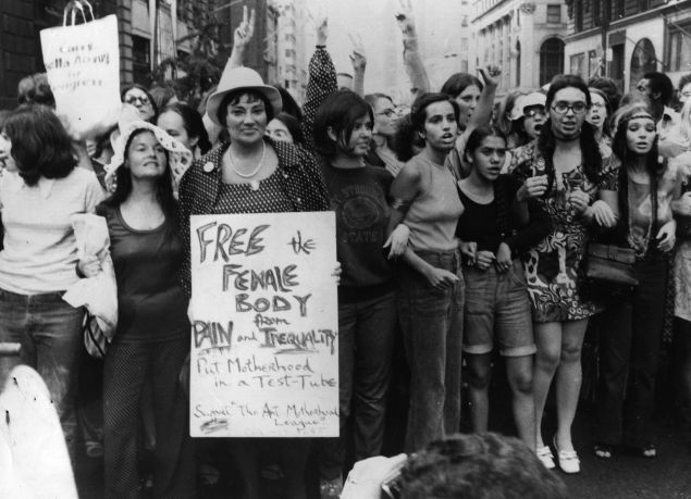 The Women's Liberation Day parade in New York, on the 50th anniversary of women winning the vote in the United States.
