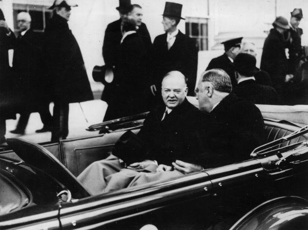 President Herbert Hoover with President Franklin Delano Roosevelt on Inauguration Day 1933.
