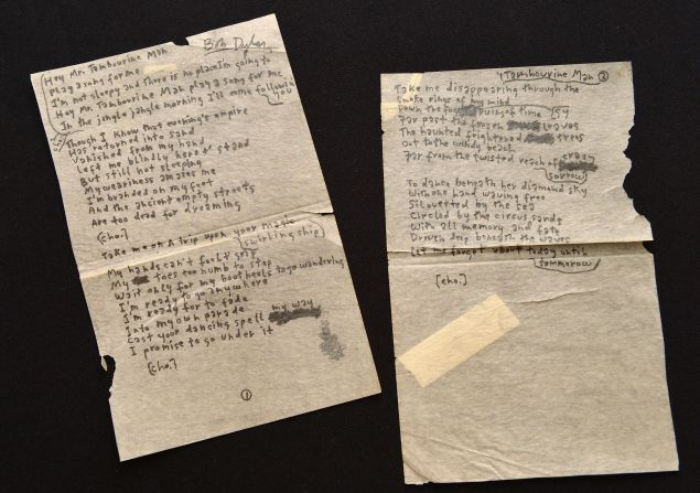 """NEW YORK, NY - DECEMBER 03: Bob Dylan's handwritten lyrics for """"Mr. Tambourine Man"""" on display at """"Icons & Idols: Rock n' Roll"""" on December 3, 2013 in New York City. (Photo by Slaven Vlasic/Getty Images)"""