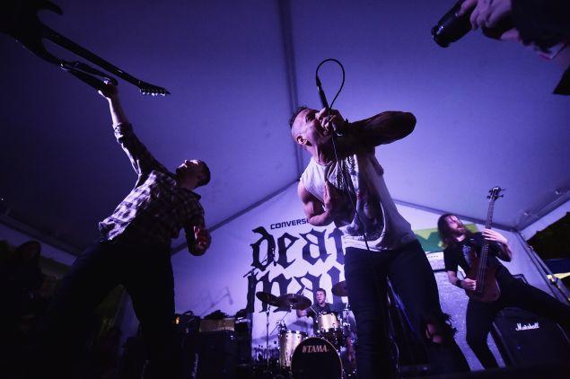 AUSTIN, TX - MARCH 21: (L-R) Guitarist Ben Weinman, drummer Billy Rymer, vocalist Greg Puciato, and bassist Liam Wilson of The Dillinger Escape Plan.