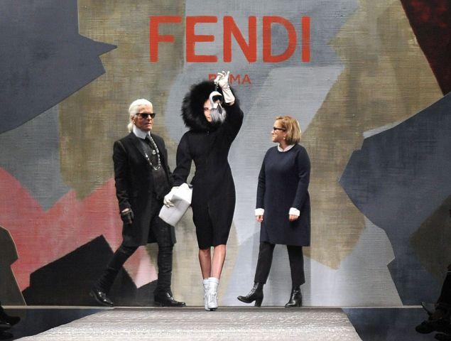 Cara Delevingne models Karlito with Karl Lagerfeld and Silvia Venturini Fendi.