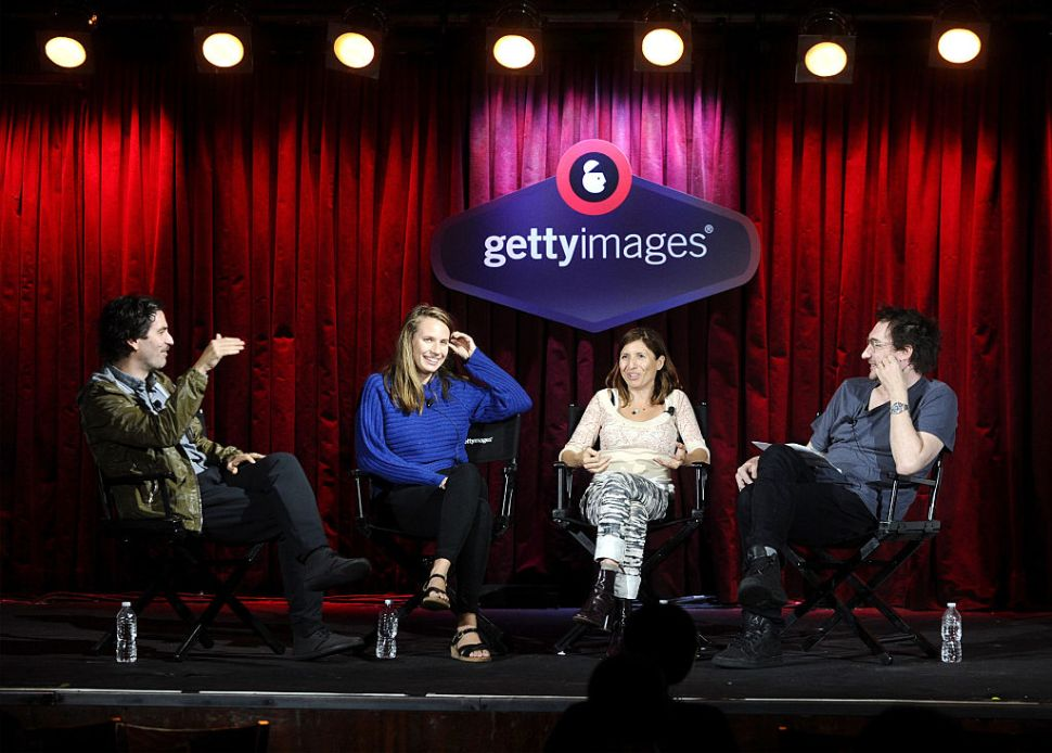 "NEW YORK, NY - SEPTEMBER 28: Founder and Executive Producer at M SS NG P ECES Ari Kuschnir, Filmmaker and Radio Producer Bianca Giaever, Public Radio Producer and Writer Starlee Kine and Shelly Palmer Digital Living Host Benjamin Palmer (L-R) speak onstage at the ""What Audio Can Do for Video"" panel during Advertising Week 2015 AWXII at the Getty Images Stage at B.B. King Blues Club and Grill on September 28, 2015 in New York City."