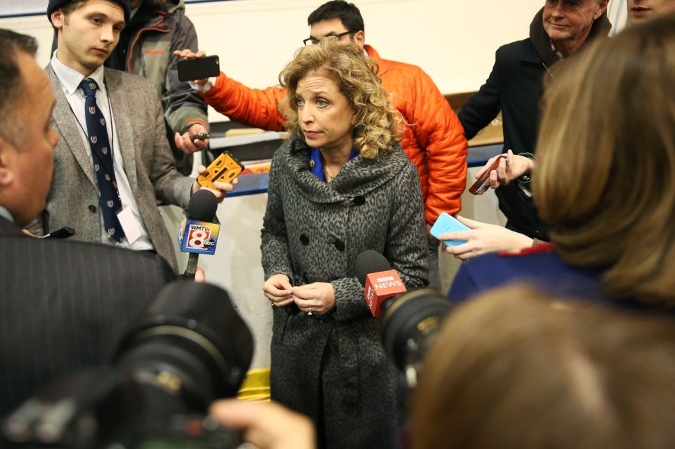 MANCHESTER, NH - DECEMBER 19: U.S. Representative Debbie Wasserman Schultz (D-FL 23rd District), who is also the Chair of the Democratic National Committee (DNC) speaks to reporters before the democratic debate on December 19, 2015 in Manchester, New Hampshire. The DNC has been criticized for the timing of democratic debates during the 2016 presidential race.