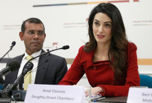 Amal Clooney with President Nasheed of the Maldives at a press conference at Doughty Street Chambers on January 25, 2016 in London, England.