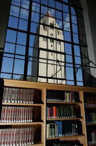 Hoover Tower is seen through a window at Stanford University's campus. Stanford was ranked the top school in the US by the Wall Street Journal.