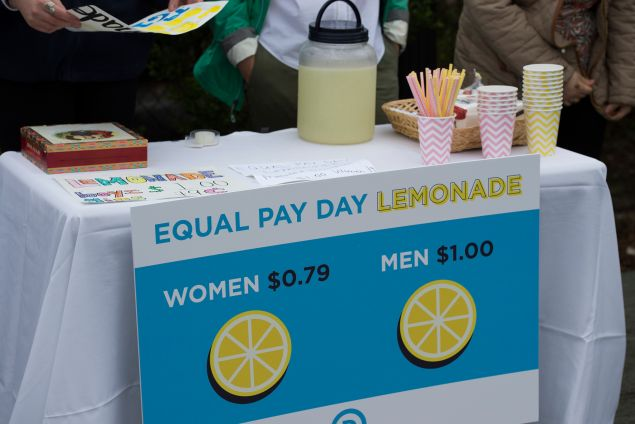 """In April, DNC women hosted an Equal Pay Day event with a lemonade stand """"where women pay 79 cents per cup and men pay $1 per cup, to highlight the wage gap."""""""