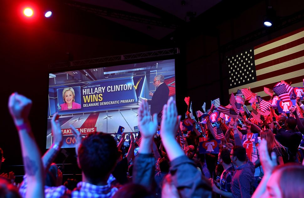 A monitor displays a feed of CNN election coverage during a primary night gathering for democratic presidential candidate former Secretary of State Hillary Clinton at the Philadelphia Convention Center on April 26, 2016 in Philadelphia, Penn.
