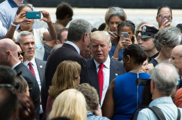 Mayor Bill de Blasio addresses Donald Trump at the 9/11 Memorial event in September.