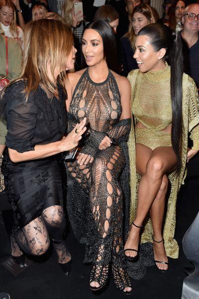 Carine Roitfeld, Kim Kardashian and Kourtney Kardashian