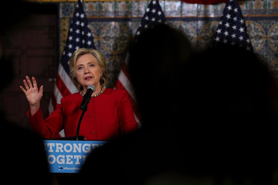 HARRISBURG, PA - OCTOBER 04: Democratic presidential nominee former Secretary of State Hillary Clinton speaks to reporters following a Pennsylvania Democrats voter registration event at Zembo Shrine on October 4, 2016 in Harrisburg, Pennsylvania. Hillary Clinton is campaigning in Pennsylvania.