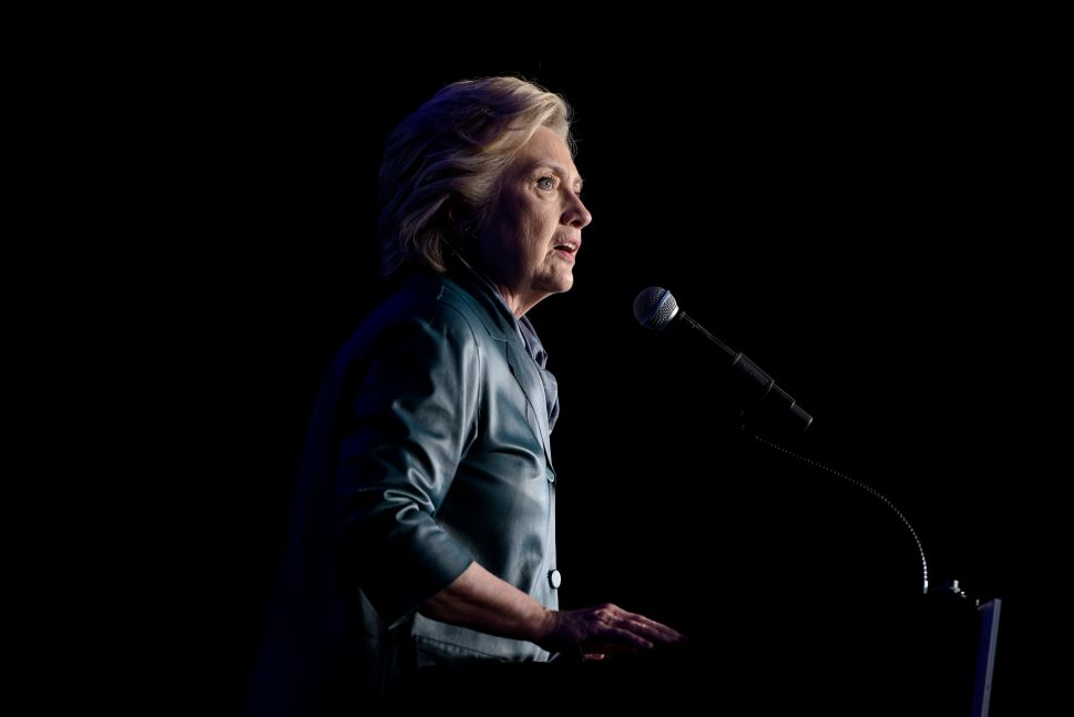 Democratic presidential nominee Hillary Clinton speaks during a fundraiser at the Capitol Hill Hyatt hotel on October 5, 2016 in Washington, DC.