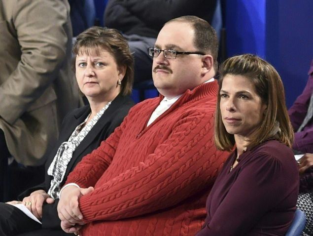 Ken Bone wearing his red Izod sweater.
