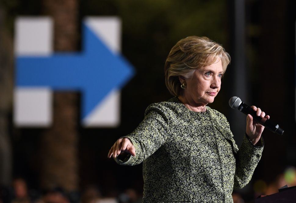 Democratic presidential nominee Hillary Clinton speaks during a campaign rally at The Smith Center for the Performing Arts on October 12, 2016 in Las Vegas.
