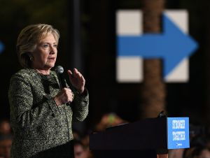 Democratic presidential nominee Hillary Clinton speaks during a campaign rally at The Smith Center for the Performing Arts on October 12, 2016 in Las Vegas, Nevada. Clinton, who will return to Las Vegas for the final presidential debate on October 19, continues to campaign against her Republican opponent Donald Trump with less than one month to go before Election Day.