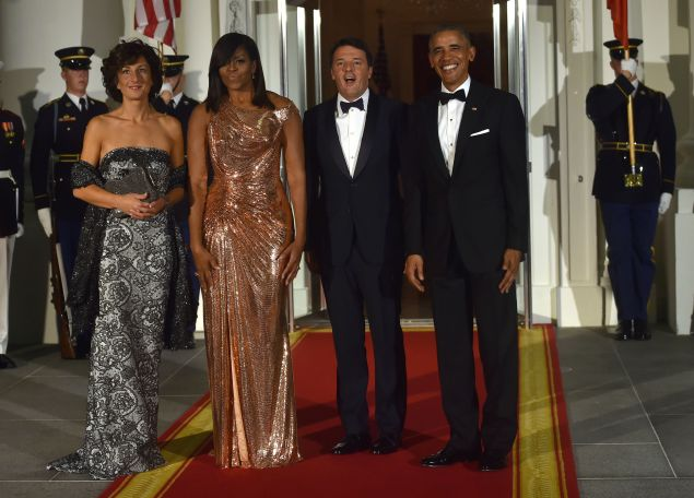 US President Barack Obama and First Lady Michelle Obama with Italian Prime Minister Matteo Renzi and his wife Agnese Landini.