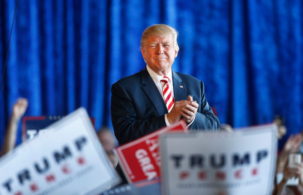 GRAND JUNCTION, CO - OCTOBER 18: Republican presidential candidate Donald Trump leaves a rally at Grand Junction Regional Airport on October 18, 2016 in Grand Junction Colorado. Trump is on his way to Las Vegas for the third and final presidential debate against Democratic rival Hillary Clinton.