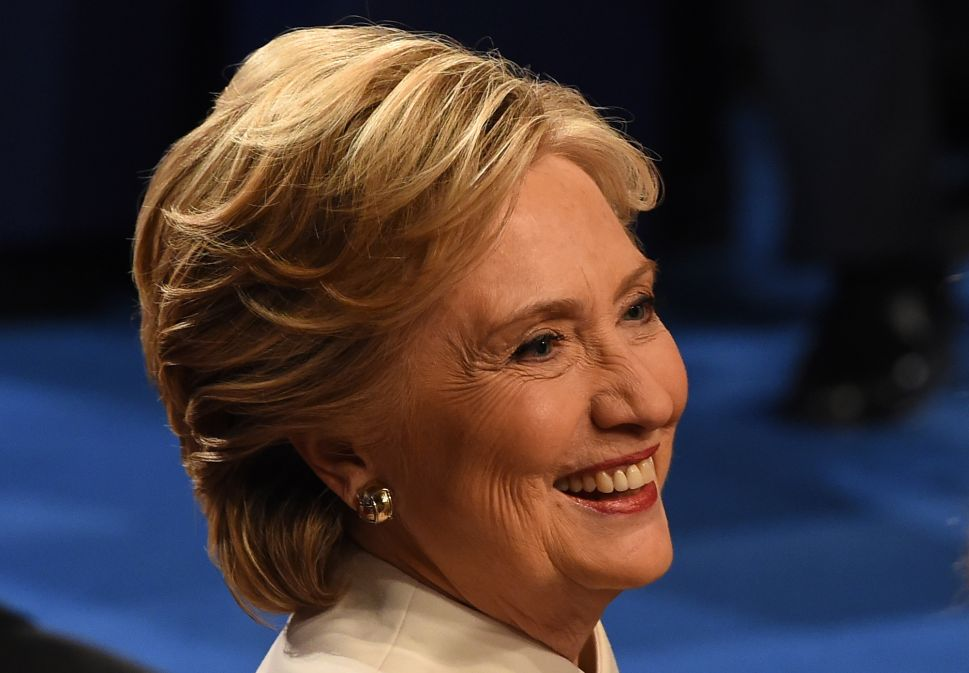 Democratic nominee Hillary Clinton smiles after the final presidential debate at the Thomas & Mack Center on the campus of the University of Las Vegas in Las Vegas, Nevada on October 19, 2016.