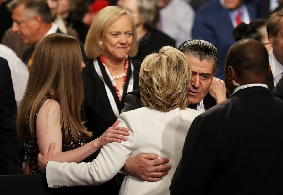 LAS VEGAS, NV - OCTOBER 19: Businessman Haim Saban embraces Democratic presidential nominee former Secretary of State Hillary Clinton after the third U.S. presidential debate at the Thomas & Mack Center on October 19, 2016 in Las Vegas, Nevada. Tonight is the final debate ahead of Election Day on November 8.