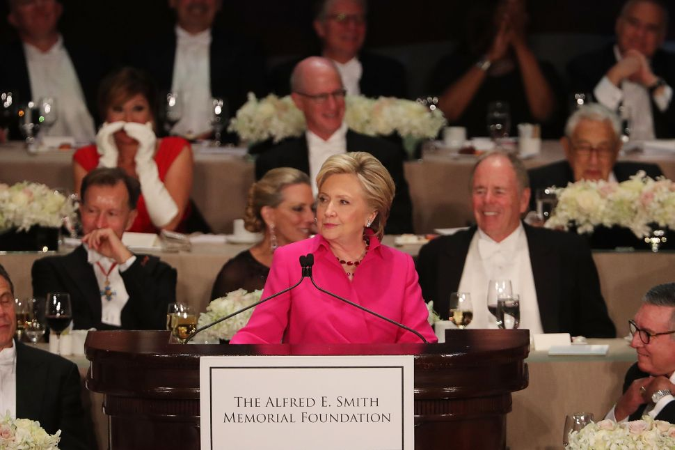Hillary Clinton speaks at the annual Alfred E. Smith Memorial Foundation Dinner at the Waldorf Astoria on October 20, 2016 in New York City.The white-tie dinner, which benefits Catholic charities and celebrates former Governor of New York Al Smith, has been attended by presidential candidates since 1960 and gives the candidates an opportunity to poke fun at themselves and each other.