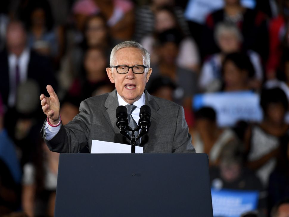 U.S. Senate Minority Leader Harry Reid speaks at a campaign rally with U.S. President Barack Obama for Democratic presidential nominee Hillary Clinton at Cheyenne High School on October 23, 2016 in North Las Vegas, Nevada.
