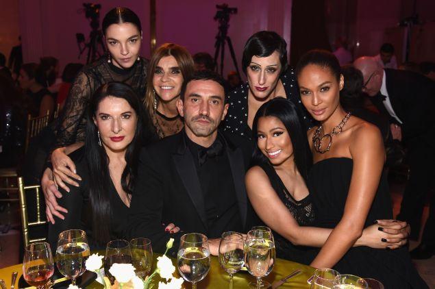 Riccardo Tisci with Marina Abramovic, Mariacarla Boscono, Carine Roitfeld, Ladyfag, Nicki Minaj, and Joan Smalls.