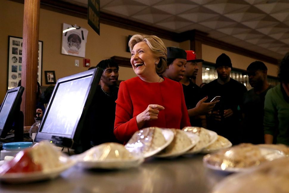 CLEVELAND, OH - OCTOBER 31: Democratic presidential nominee former Secretary of State Hillary Clinton greets patrons at Angie's Soul Cafe on October 31, 2016 in Cleveland, Ohio. With just over a week to go until election day, Hillary Clinton is campaigning in the battleground state of Ohio.