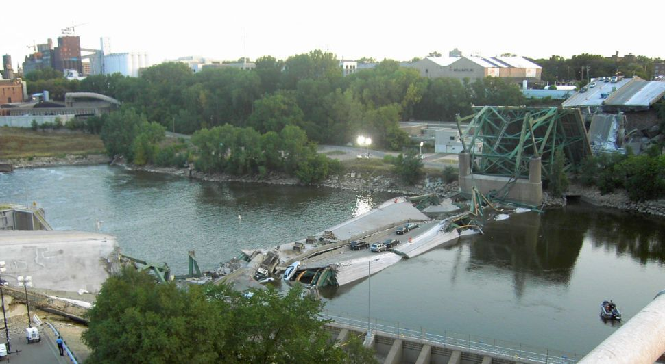 The collapsed I35 bridge in Minneapolis, MN.