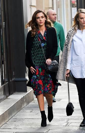 Jessica Alba in Paris wearing Kenzo x H&M.