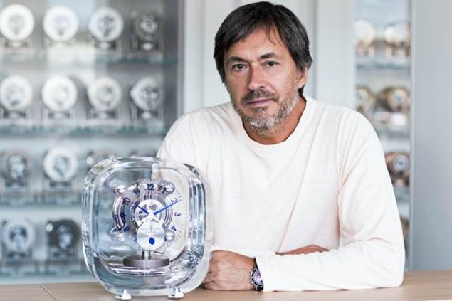 Designer Marc Newson of Jaeger-LeCoultre with the Atmos 568 clock