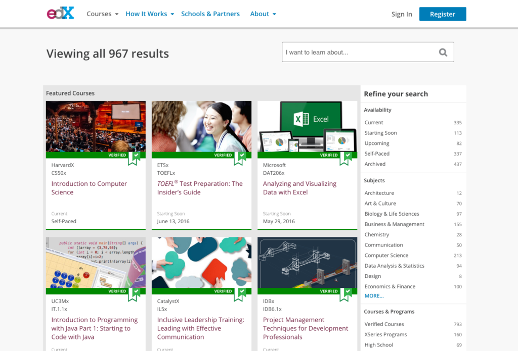 edX gives users access to almost 10,000 courses