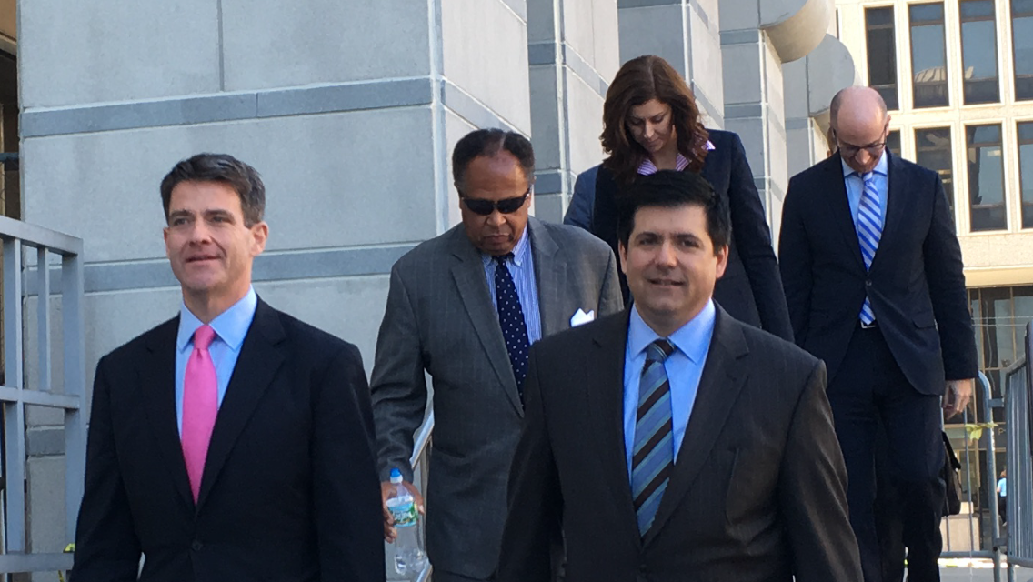 Baroni (left) and attorney Michael Baldassare leave the Newark Federal Court House.