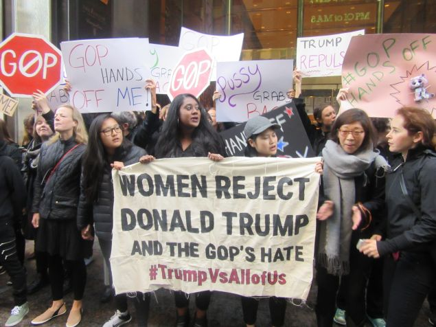 Women protested in front of Trump Tower against Republican presidential nominee Donald Trump over comments he made about how he used his fame to sexually assault women.