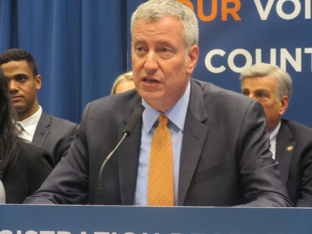 Mayor Bill de Blasio speaks at a press conference about New York's voter registration deadline.