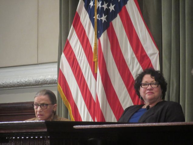 Justices Ruth Bader Ginsburg and Sonia Sotomayor speak as part of a panel in Manhattan.