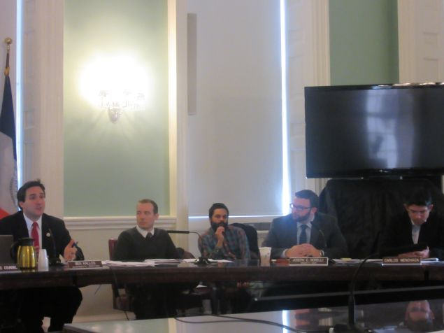 Manhattan Councilman Ben Kallos and other Council members ask a Board of Elections official questions about a Manhattan commissioner's voter fraud claims.