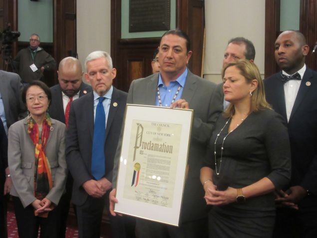 The City Council gave Standing Rock Sioux Chairman David Archambault II a proclamation for his efforts to prevent the Dakota Access Pipeline from being constructed.