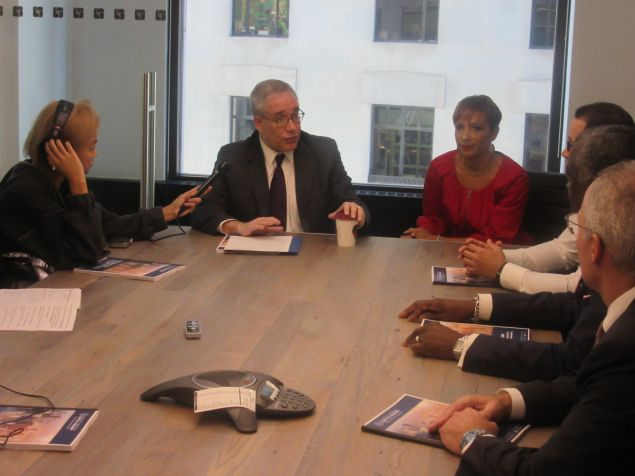 Comptroller Scott Stringer and his Chief Diversity Officer Carra Wallace speak to MWBE owners.