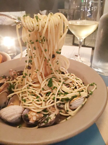 The clam pasta at Spartina has fermented black beans.