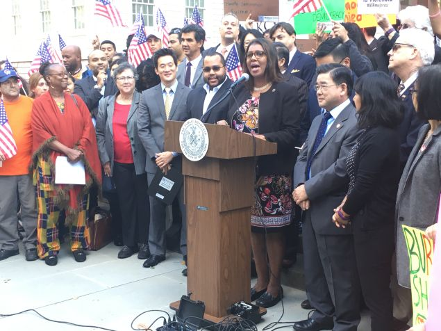 Public Advocate Letitia James, other elected officials and advocates urge President Obama to clear the citizenship application backlog.