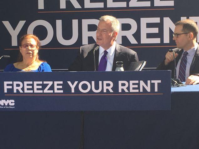 Mayor Bill de Blasio discusses the city's rent freeze program.