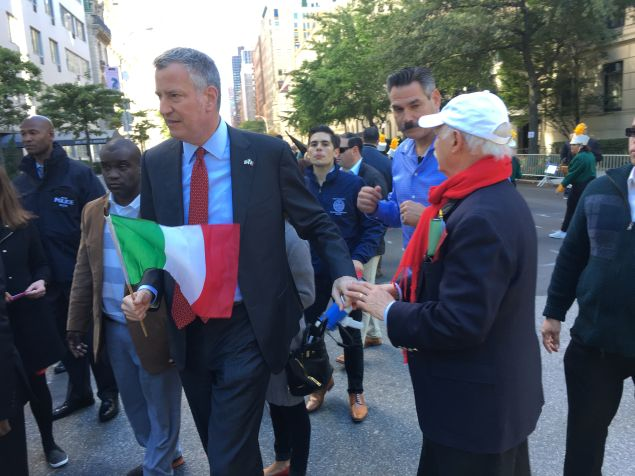 Mayor de Blasio marches during the Columbus Day Parade on Fifth Avenue.