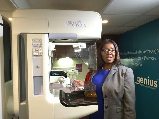Public Advocate Letitia James participates in demonstration of a new 3D breast cancer detection technology.